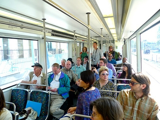 student takes expo line
