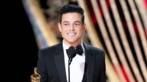 Rami Malek accepting his first Academy Award on February 25, 2019